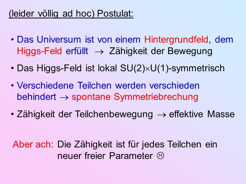 (leider völlig ad hoc) Postulat: Das Universum ist von einem Hintergrundfeld, dem Higgs-Feld erfüllt Zähigkeit der Bewegung Das Higgs-Feld ist lokal S
