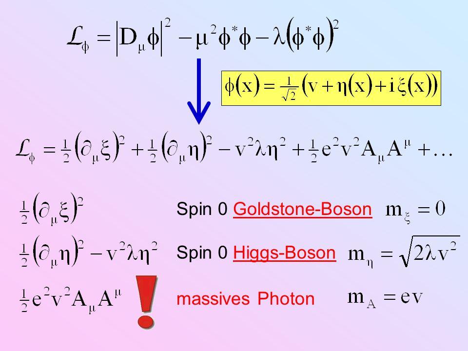 Spin 0 Goldstone-Boson Spin 0 Higgs-Boson massives Photon