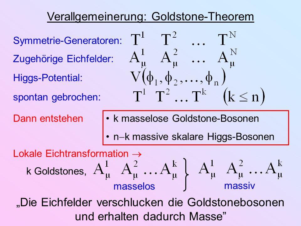 Verallgemeinerung: Goldstone-Theorem Symmetrie-Generatoren: Zugehörige Eichfelder: Higgs-Potential: spontan gebrochen: Dann entstehen k masselose Gold
