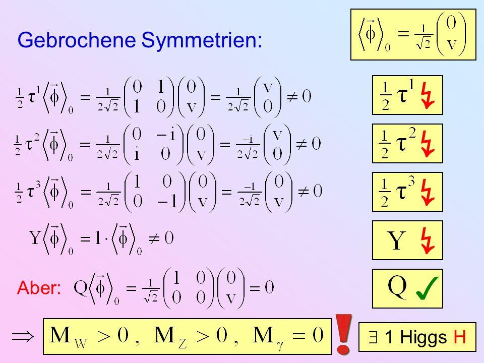 Gebrochene Symmetrien: Aber: 1 Higgs H