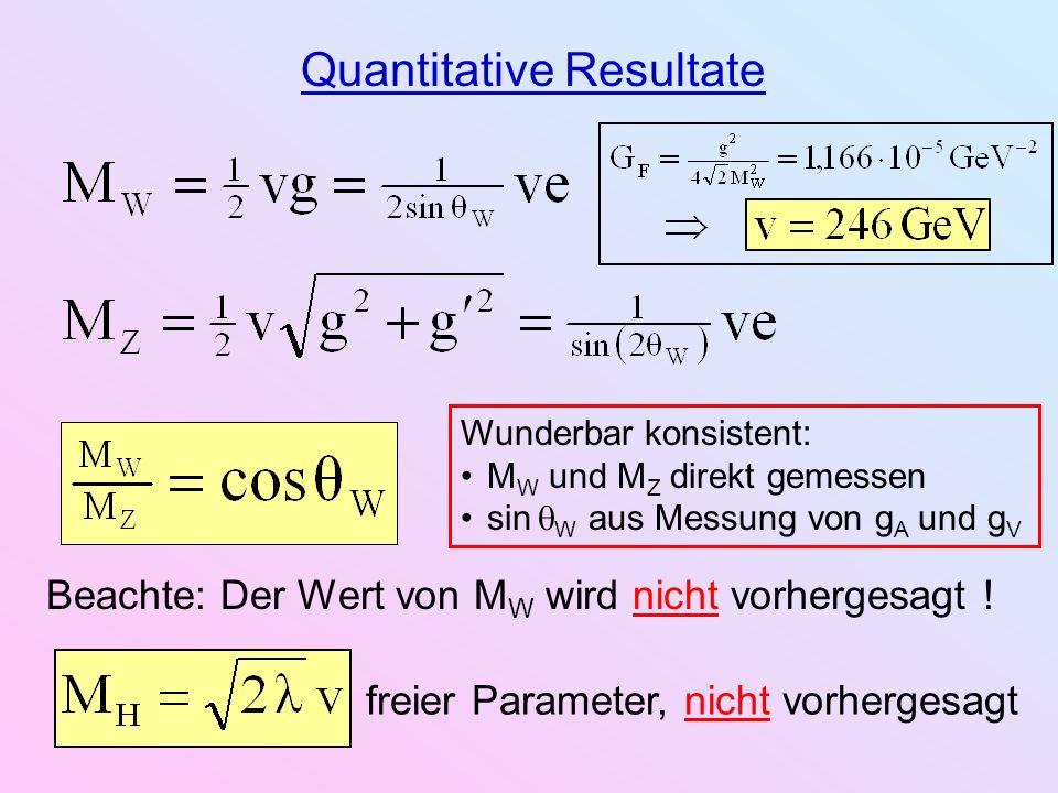 Quantitative Resultate Wunderbar konsistent: M W und M Z direkt gemessen sin W aus Messung von g A und g V Beachte: Der Wert von M W wird nicht vorher