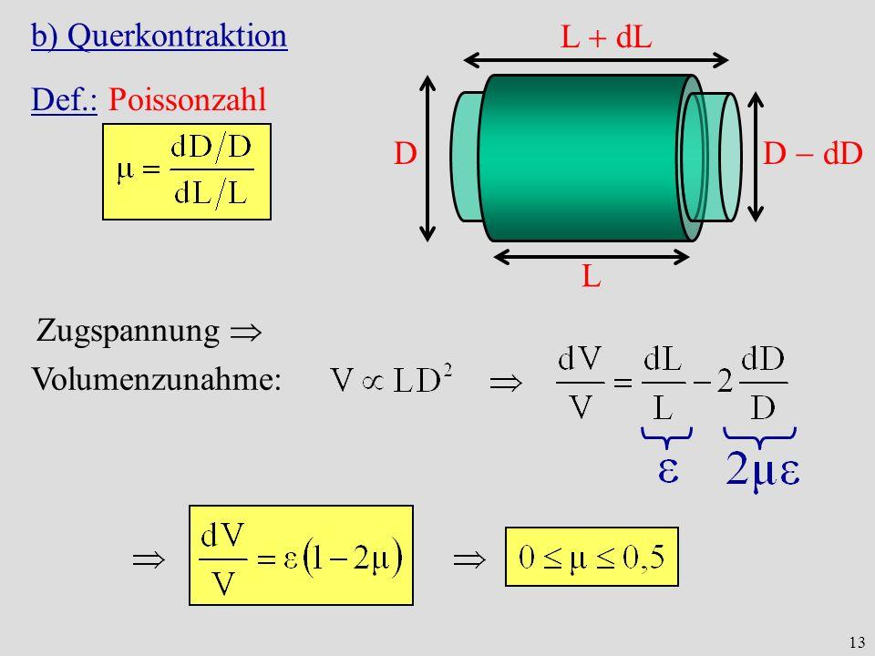 13 b) Querkontraktion L D L dL D dD Def.: Poissonzahl Volumenzunahme: Zugspannung