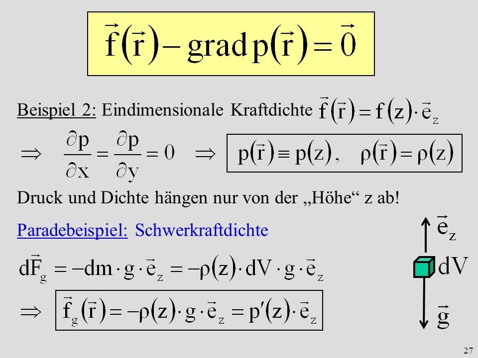 27 Beispiel 2: Eindimensionale Kraftdichte Druck und Dichte hängen nur von der Höhe z ab.