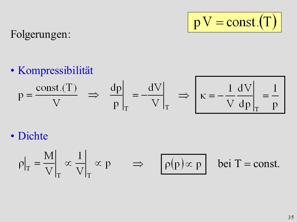 35 Folgerungen: Kompressibilität Dichte bei T const.