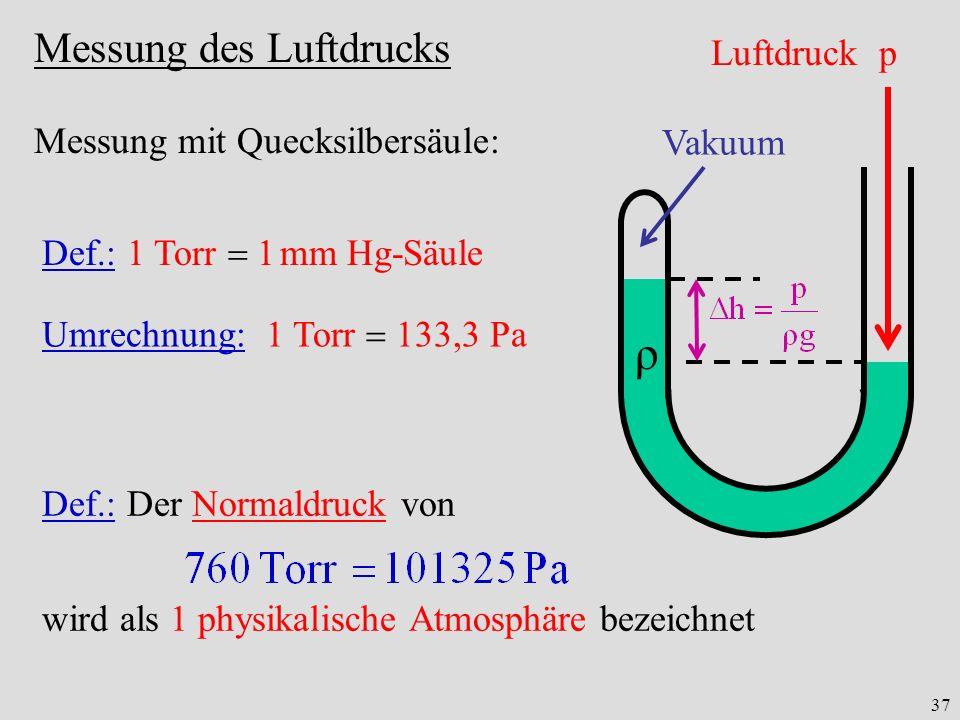 37 Messung des Luftdrucks ρ Luftdruck p Vakuum Messung mit Quecksilbersäule: Def.: 1 Torr 1 mm Hg-Säule Umrechnung: 1 Torr 133,3 Pa Def.: Der Normaldruck von wird als 1 physikalische Atmosphäre bezeichnet