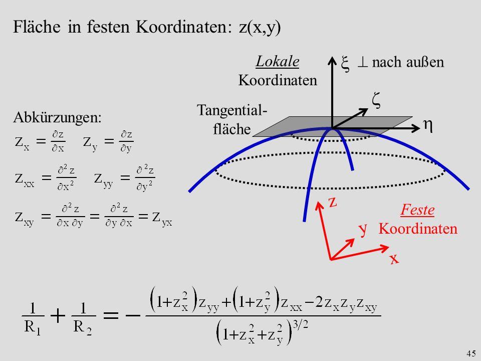 45 Fläche in festen Koordinaten: z(x,y) nach außen Tangential- fläche Lokale Koordinaten x y z Feste Koordinaten Abkürzungen: