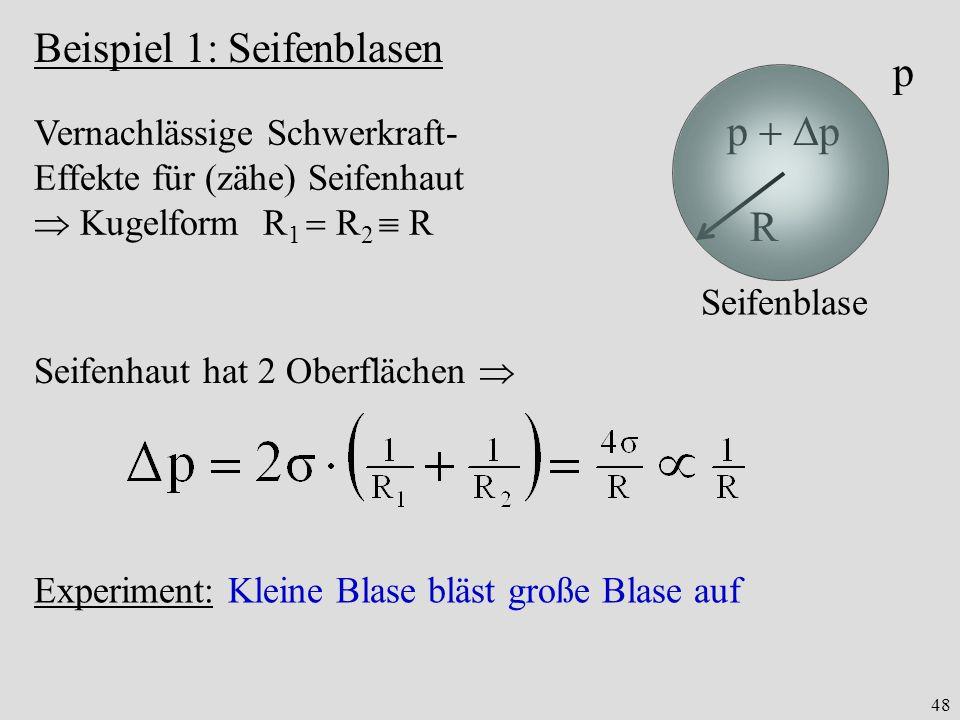 48 Beispiel 1: Seifenblasen R p p Seifenblase Experiment: Kleine Blase bläst große Blase auf Vernachlässige Schwerkraft- Effekte für (zähe) Seifenhaut Kugelform R 1 R 2 R Seifenhaut hat 2 Oberflächen