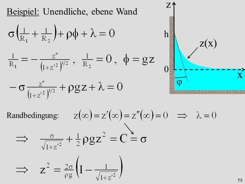 58 z x 0 Beispiel: Unendliche, ebene Wand z(x) Randbedingung: h