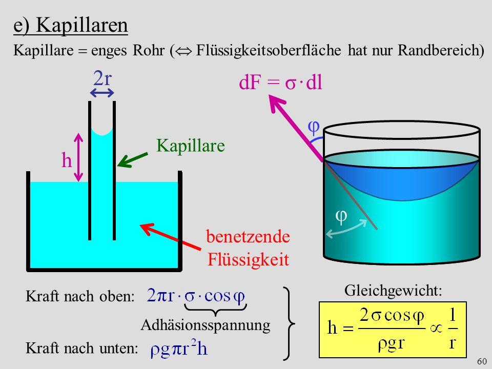 60 e) Kapillaren φ benetzende Flüssigkeit 2r Kapillare h φ dF = σ · dl Kapillare enges Rohr ( Flüssigkeitsoberfläche hat nur Randbereich) Kraft nach oben: Adhäsionsspannung Kraft nach unten: Gleichgewicht: