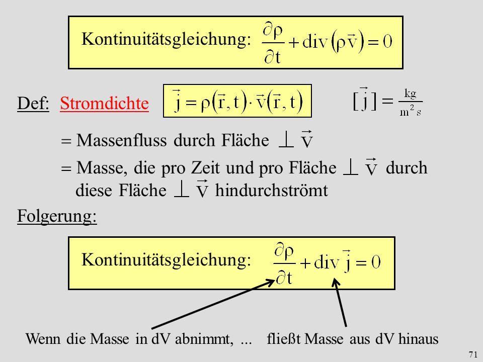 71 Kontinuitätsgleichung: Def: Stromdichte Massenfluss durch Fläche Kontinuitätsgleichung: Folgerung: Wenn die Masse in dV abnimmt,...