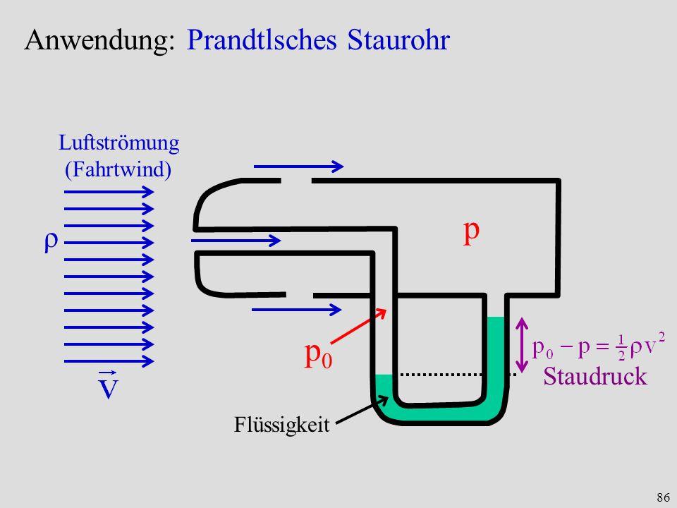 86 Anwendung: Prandtlsches Staurohr Luftströmung (Fahrtwind) ρ p p0p0 Flüssigkeit Staudruck