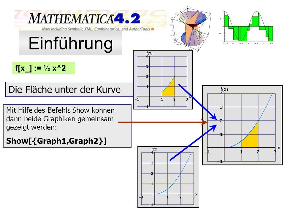 f[x_] := ½ x^2 Die Fläche unter der Kurve Mit Hilfe des Befehls Show können dann beide Graphiken gemeinsam gezeigt werden: Show[{Graph1,Graph2}] Einfü