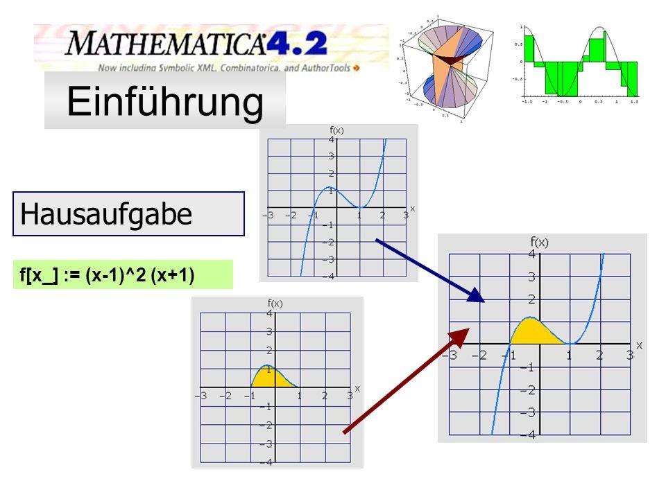 f[x_] := (x-1)^2 (x+1) Hausaufgabe Einführung