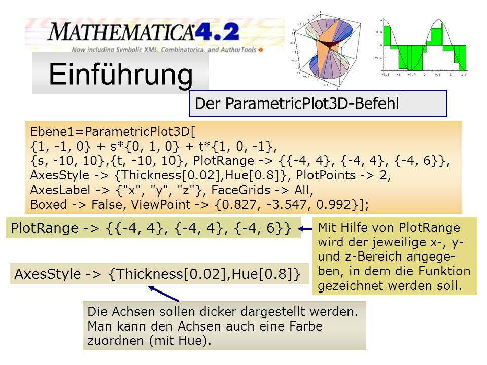 Mit Hilfe von PlotRange wird der jeweilige x-, y- und z-Bereich angege- ben, in dem die Funktion gezeichnet werden soll. Ebene1=ParametricPlot3D[ {1,