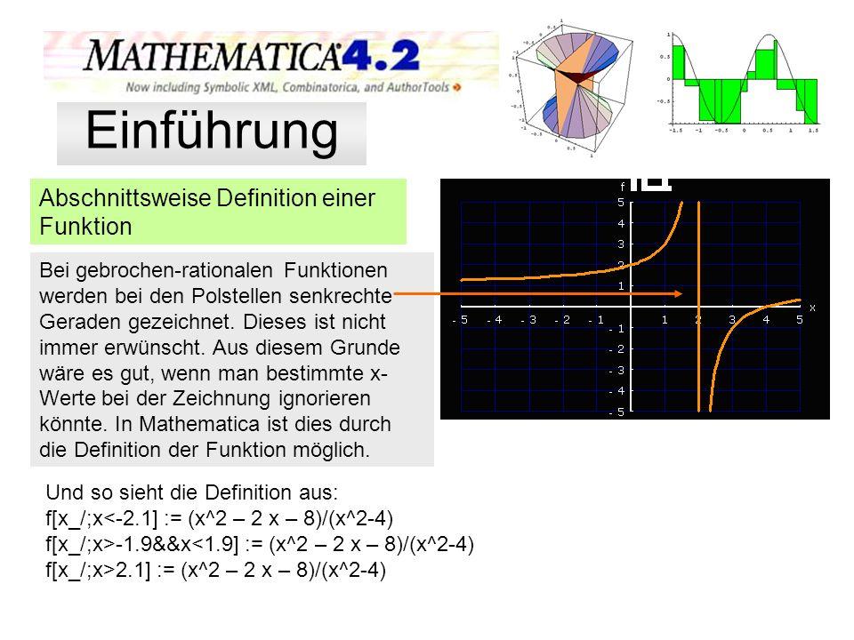 Die Definition einer Funktion f[x_] := 1/15 x^5-1/2 ^4 + 8/9 x^3 Es gibt noch viele weitere Möglichkeiten, die Graphik sinnvoll zu gestalten: Plot[f[x],{x,-2,5},PlotRange->{{-2,5},{-4,3}}, GridLines->{{-2,-1,1,2,3,4,5},{-4,-3,-2,-1,1,2,3}}, Ticks->{{-2,-1,1,2,3,4,5},{-4,-3,-2,-1,1,2,3}}, DefaultFont->{ Verdana ,16},Background->GrayLevel[0.88], PlotStyle->{{Thickness[0.006],Hue[0.8]}, {Thickness[0.006],Hue[0.7]}, {Thickness[0.006],Hue[0.278]}, {Thickness[0.007],Hue[0.924]}}, AxesStyle->{Thickness[0.009]}, AxesLabel->{ x , f(x) },AspectRatio->1 ]; Einführung