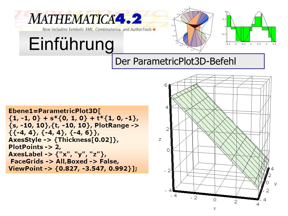 Ebene1=ParametricPlot3D[ {1, -1, 0} + s*{0, 1, 0} + t*{1, 0, -1}, {s, -10, 10},{t, -10, 10}, PlotRange -> {{-4, 4}, {-4, 4}, {-4, 6}}, AxesStyle -> {T