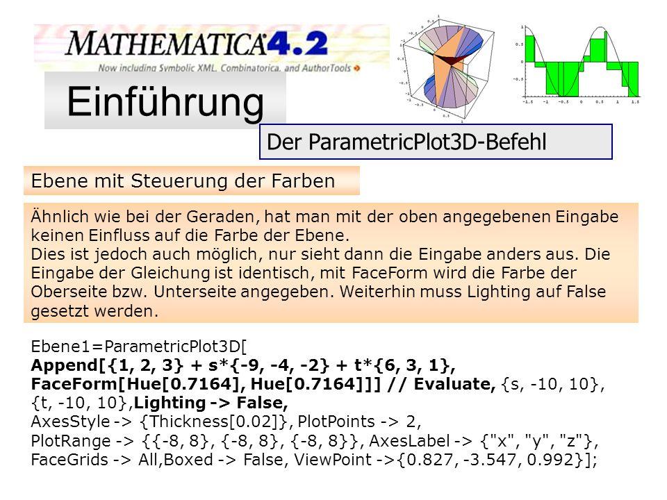 Ebene mit Steuerung der Farben Ähnlich wie bei der Geraden, hat man mit der oben angegebenen Eingabe keinen Einfluss auf die Farbe der Ebene. Dies ist
