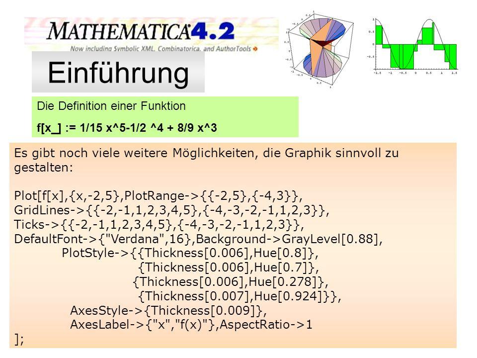 Die Definition einer Funktion f[x_] := 1/15 x^5-1/2 ^4 + 8/9 x^3 Es gibt noch viele weitere Möglichkeiten, die Graphik sinnvoll zu gestalten: Plot[f[x