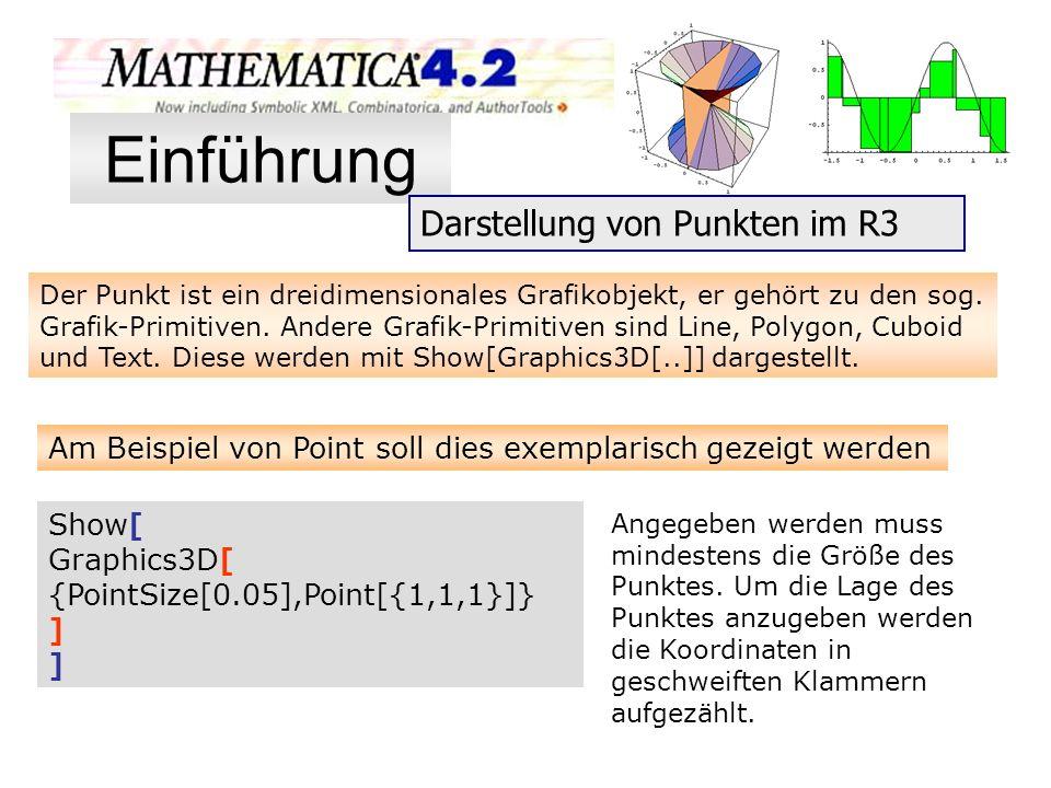 Der Punkt ist ein dreidimensionales Grafikobjekt, er gehört zu den sog. Grafik-Primitiven. Andere Grafik-Primitiven sind Line, Polygon, Cuboid und Tex