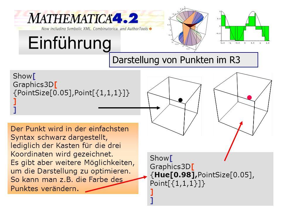Der Punkt wird in der einfachsten Syntax schwarz dargestellt, lediglich der Kasten für die drei Koordinaten wird gezeichnet. Es gibt aber weitere Mögl