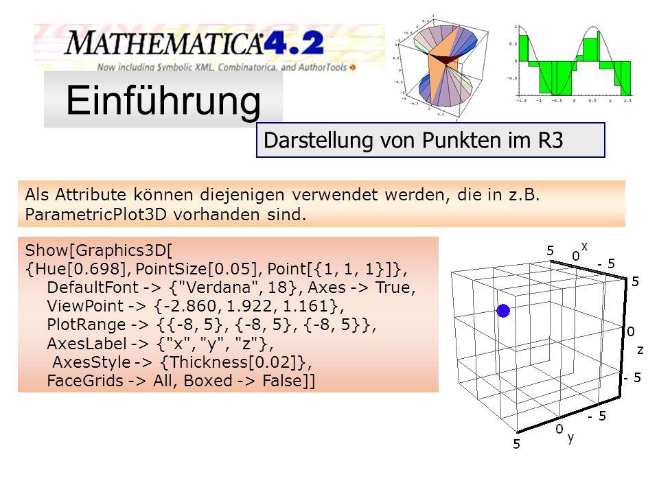 Als Attribute können diejenigen verwendet werden, die in z.B. ParametricPlot3D vorhanden sind. Show[Graphics3D[ {Hue[0.698], PointSize[0.05], Point[{1