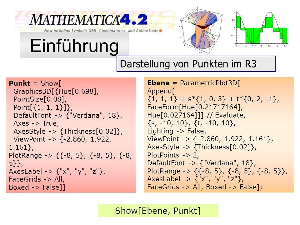 Ebene = ParametricPlot3D[ Append[ {1, 1, 1} + s*{1, 0, 3} + t*{0, 2, -1}, FaceForm[Hue[0.21717164], Hue[0.027164]]] // Evaluate, {s, -10, 10}, {t, -10