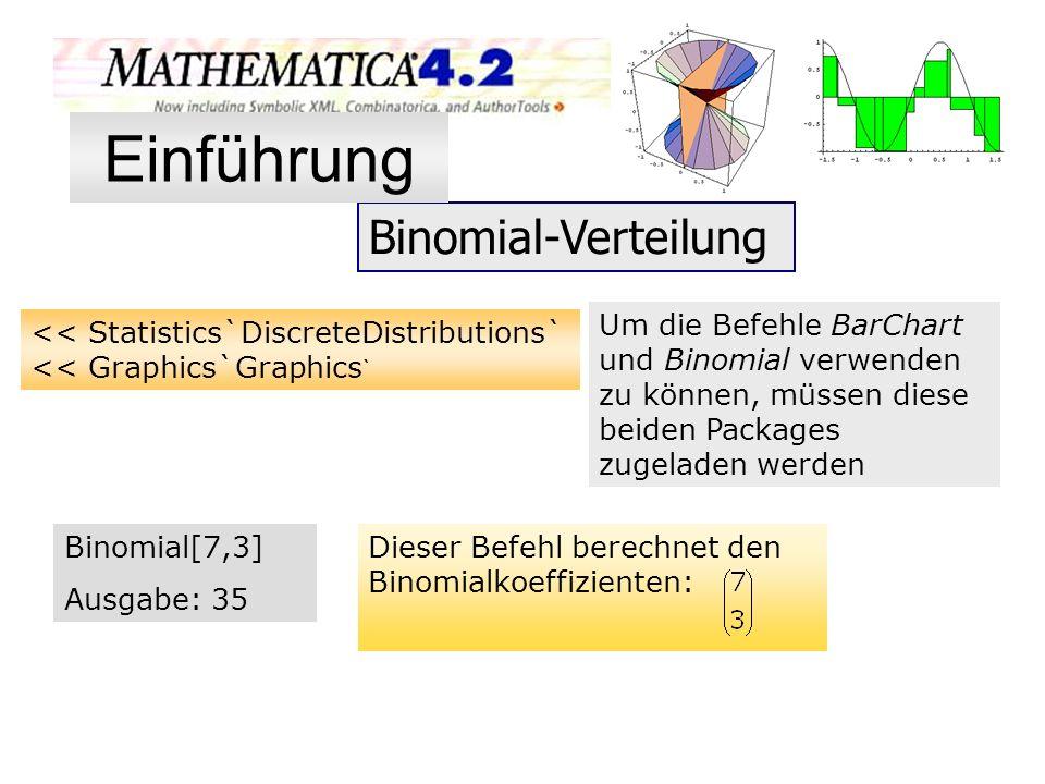 Binomial-Verteilung << Statistics`DiscreteDistributions` << Graphics`Graphics ` Um die Befehle BarChart und Binomial verwenden zu können, müssen diese