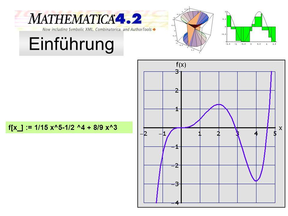 f[x_] := 1/15 x^5-1/2 ^4 + 8/9 x^3 Will man mehrere Funktionen in ei- nem Koordinatenkreuz darstellen, sind die Funktionen aufzählend in geschweifte Klammern zu schrei- ben.