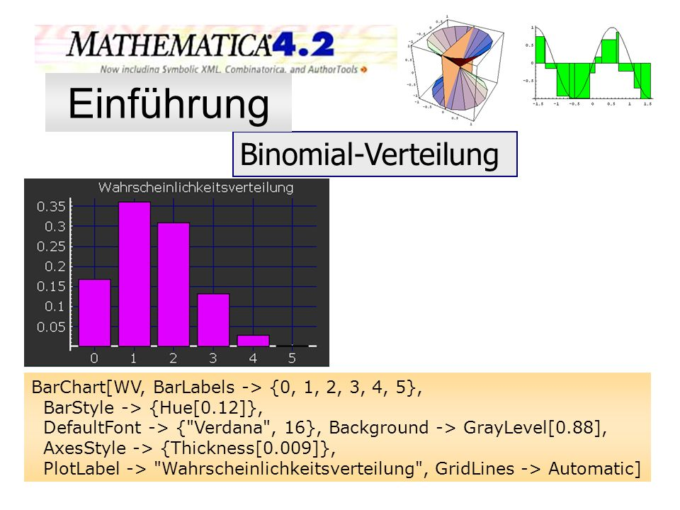 Binomial-Verteilung BarChart[WV, BarLabels -> {0, 1, 2, 3, 4, 5}, BarStyle -> {Hue[0.12]}, DefaultFont -> {