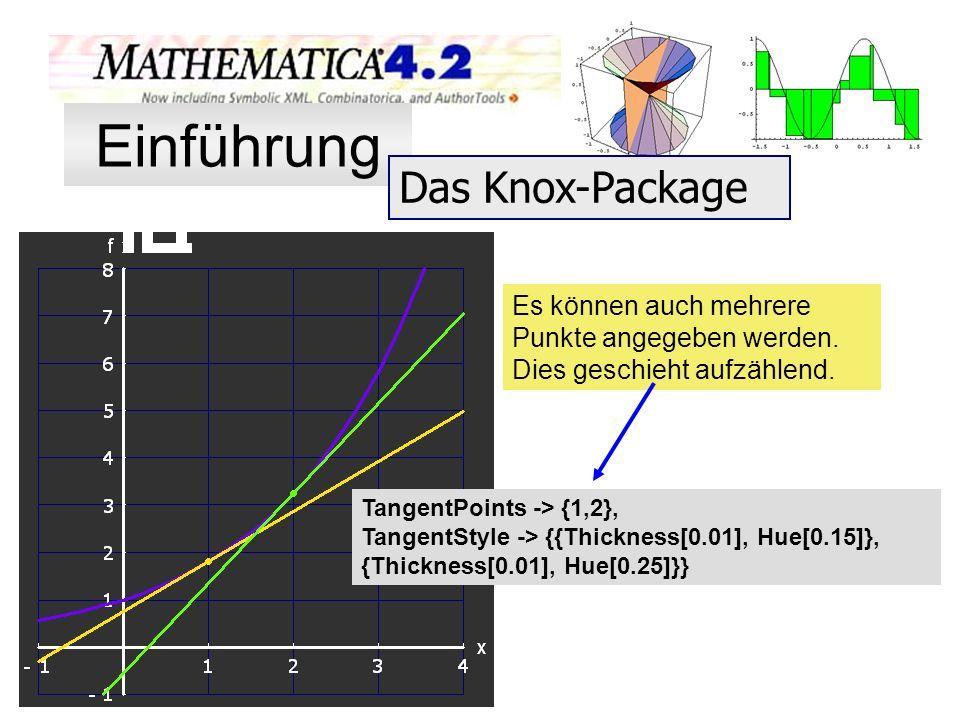 Es können auch mehrere Punkte angegeben werden. Dies geschieht aufzählend. TangentPoints -> {1,2}, TangentStyle -> {{Thickness[0.01], Hue[0.15]}, {Thi