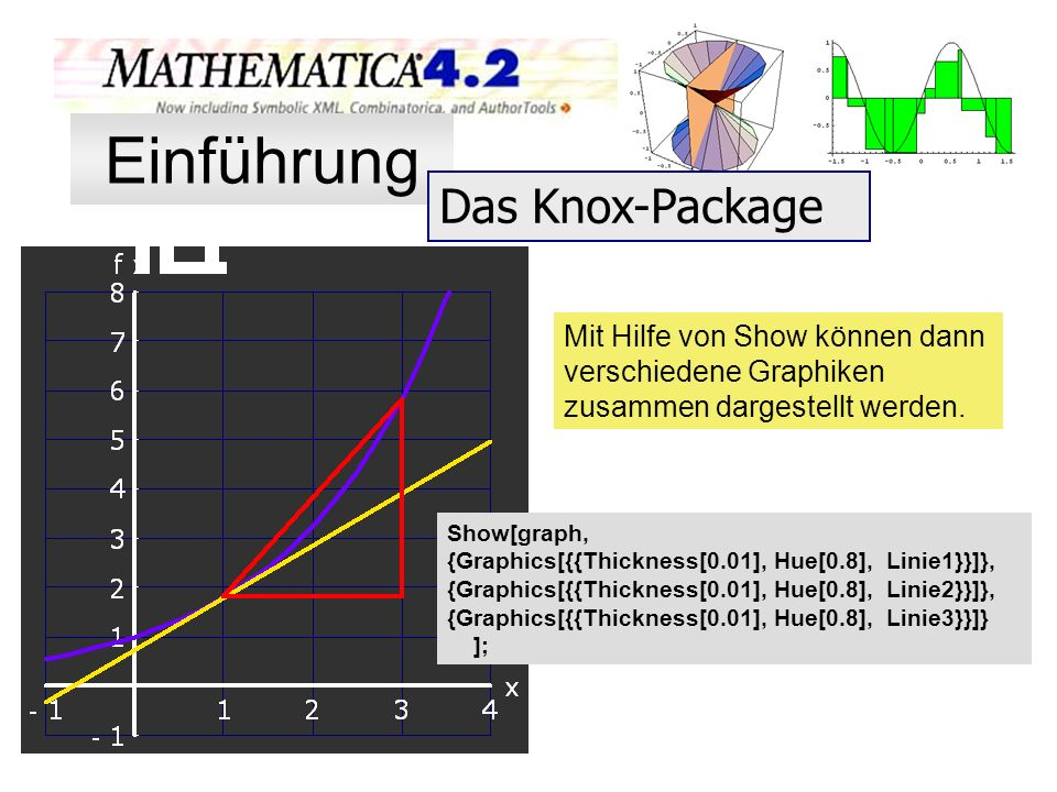 Mit Hilfe von Show können dann verschiedene Graphiken zusammen dargestellt werden. Show[graph, {Graphics[{{Thickness[0.01], Hue[0.8], Linie1}}]}, {Gra