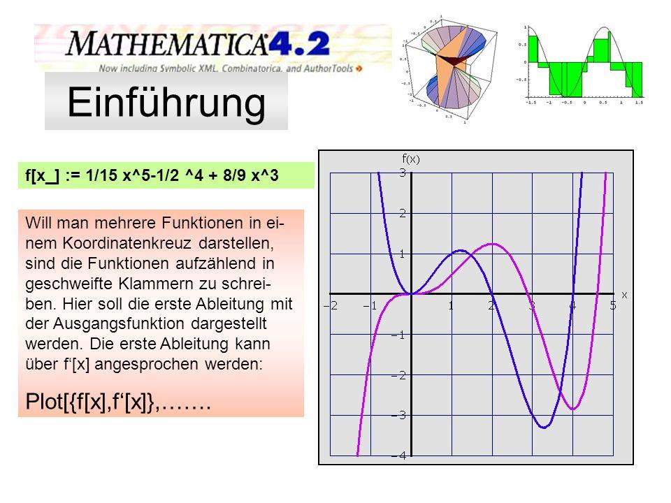 f[x_] := 1/15 x^5-1/2 ^4 + 8/9 x^3 Will man mehrere Funktionen in ei- nem Koordinatenkreuz darstellen, sind die Funktionen aufzählend in geschweifte K