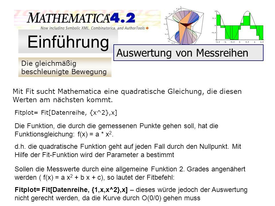 Die gleichmäßig beschleunigte Bewegung Einführung Auswertung von Messreihen Mit Fit sucht Mathematica eine quadratische Gleichung, die diesen Werten a