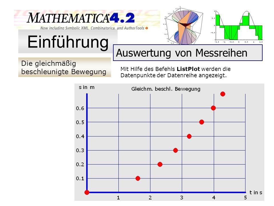 Die gleichmäßig beschleunigte Bewegung Einführung Auswertung von Messreihen Mit Hilfe des Befehls ListPlot werden die Datenpunkte der Datenreihe angez