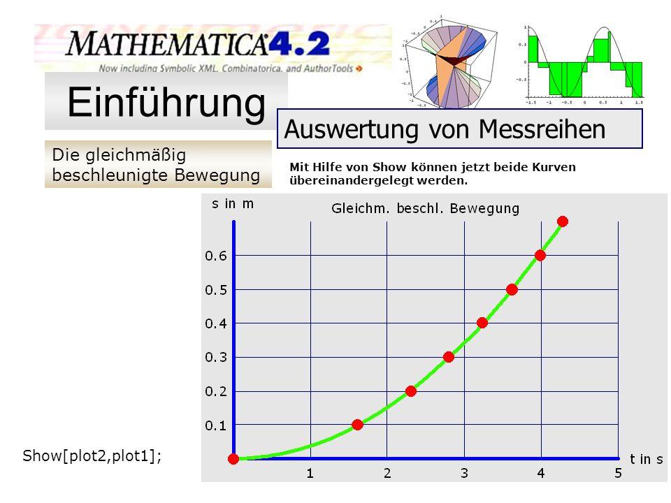 Die gleichmäßig beschleunigte Bewegung Einführung Auswertung von Messreihen Mit Hilfe von Show können jetzt beide Kurven übereinandergelegt werden. Sh