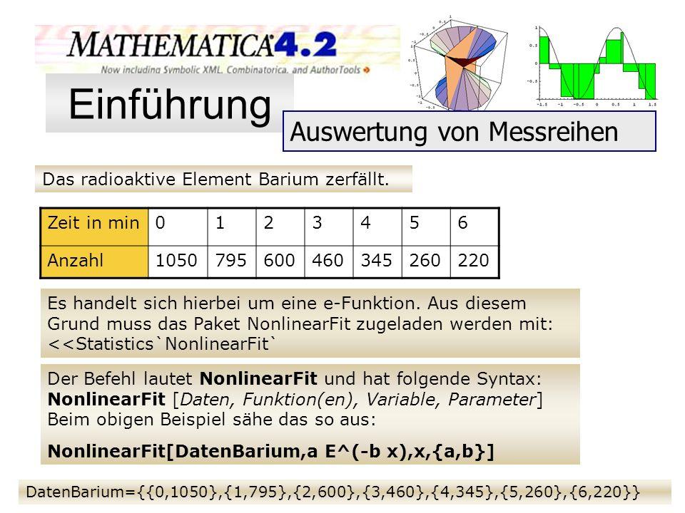 Das radioaktive Element Barium zerfällt. Zeit in min0123456 Anzahl1050795600460345260220 Es handelt sich hierbei um eine e-Funktion. Aus diesem Grund