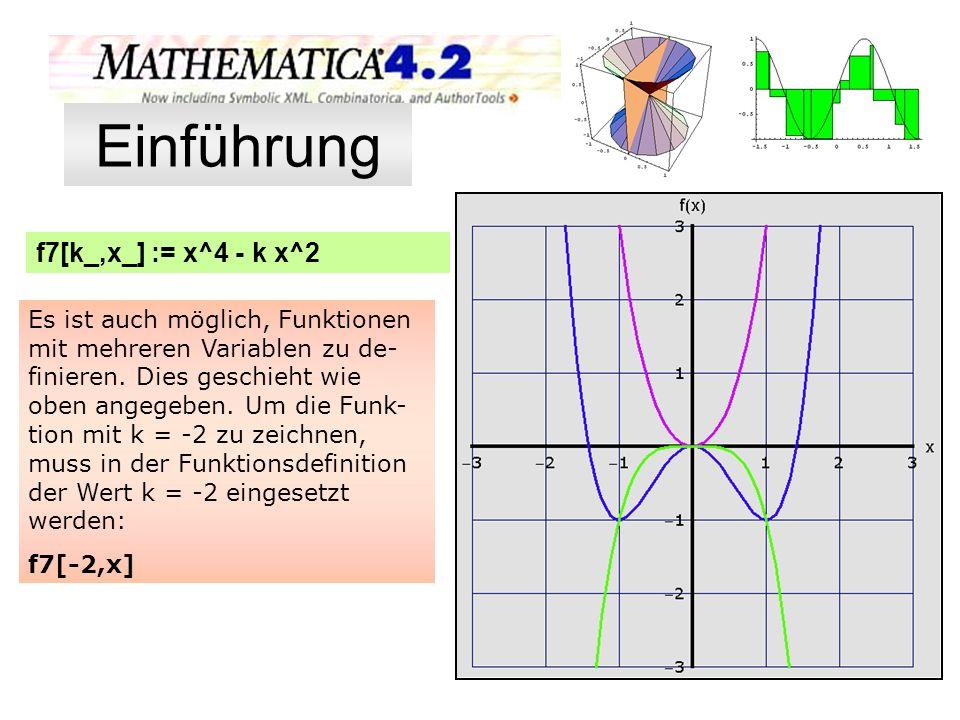 f7[k_,x_] := x^4 - k x^2 (Aufgabe 7 auf der Seite 24) Plot[{f7[-2,x],f7[2,x],- x^4}, {x,-3,3},PlotRange->{{-3,3},{-3,3}}, GridLines->{{-3,-2,-1,1,2,3},{-3,-2,-1,1,2,3}}, Ticks->{{-3,-2,-1,1,2,3},{-3,-2,-1,1,2,3}}, DefaultFont->{ Verdana ,16},Background->GrayLevel[0.88], PlotStyle->{{Thickness[0.006],Hue[0.8]}, {Thickness[0.006],Hue[0.7]}, {Thickness[0.006],Hue[0.278]}, {Thickness[0.007],Hue[0.924]}}, AxesStyle->{Thickness[0.009]}, AxesLabel->{ x , f(x) },AspectRatio->1 ]; Einführung