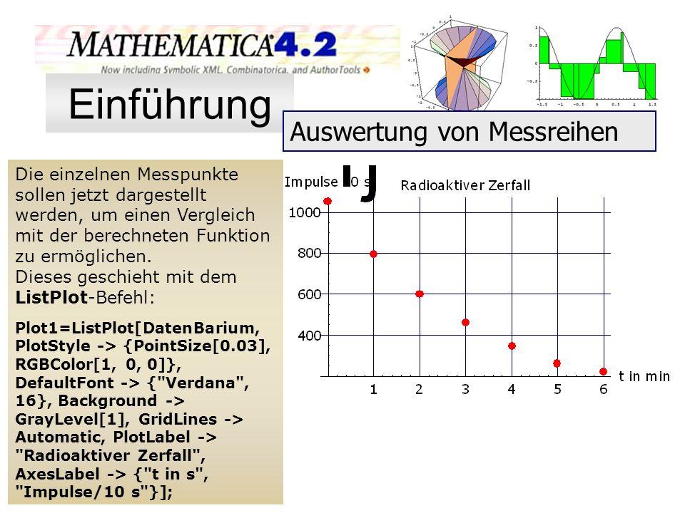 Die einzelnen Messpunkte sollen jetzt dargestellt werden, um einen Vergleich mit der berechneten Funktion zu ermöglichen. Dieses geschieht mit dem Lis