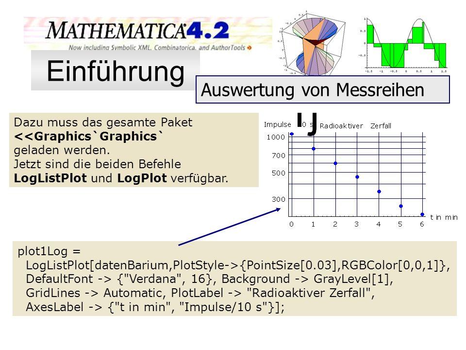 Dazu muss das gesamte Paket <<Graphics`Graphics` geladen werden. Jetzt sind die beiden Befehle LogListPlot und LogPlot verfügbar. plot1Log = LogListPl