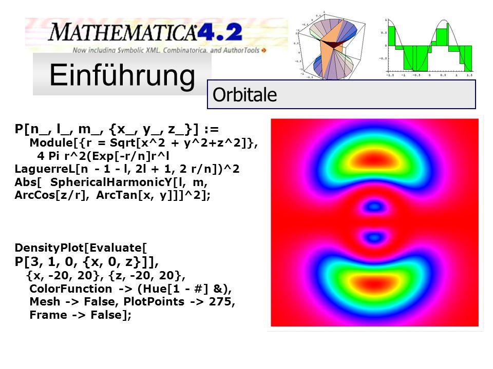 P[n_, l_, m_, {x_, y_, z_}] := Module[{r = Sqrt[x^2 + y^2+z^2]}, 4 Pi r^2(Exp[-r/n]r^l LaguerreL[n - 1 - l, 2l + 1, 2 r/n])^2 Abs[ SphericalHarmonicY[