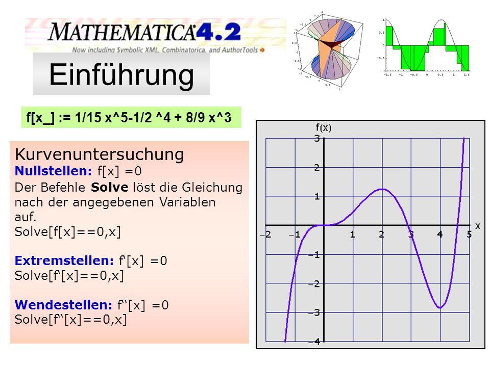 f[x_] := 1/15 x^5-1/2 ^4 + 8/9 x^3 Kurvenuntersuchung Nullstellen: f[x] =0 Der Befehle Solve löst die Gleichung nach der angegebenen Variablen auf. So