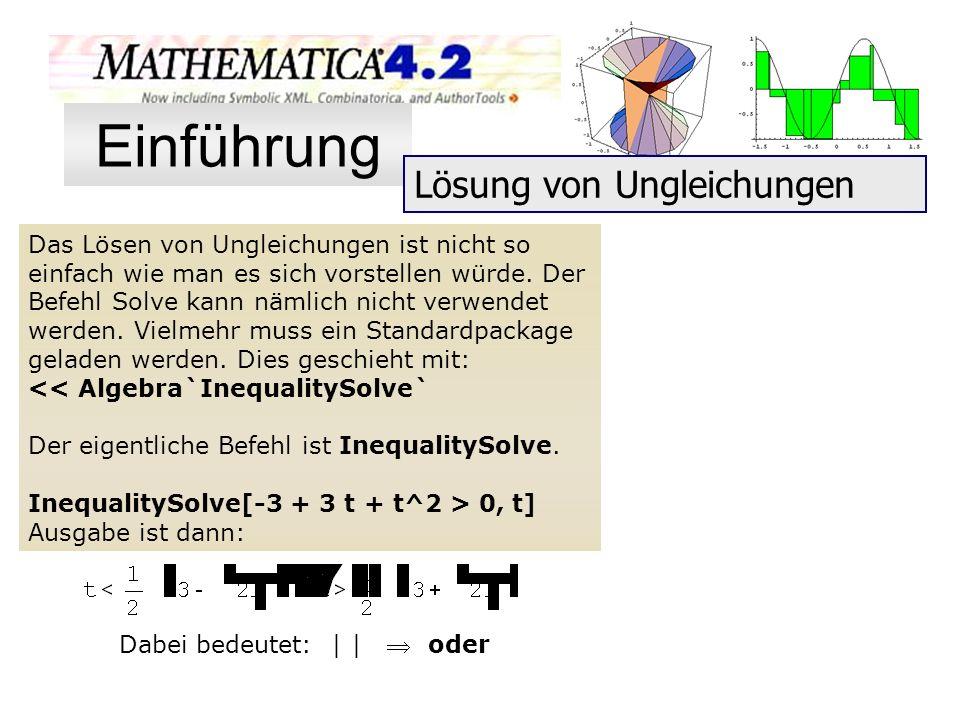 Das Lösen von Ungleichungen ist nicht so einfach wie man es sich vorstellen würde. Der Befehl Solve kann nämlich nicht verwendet werden. Vielmehr muss