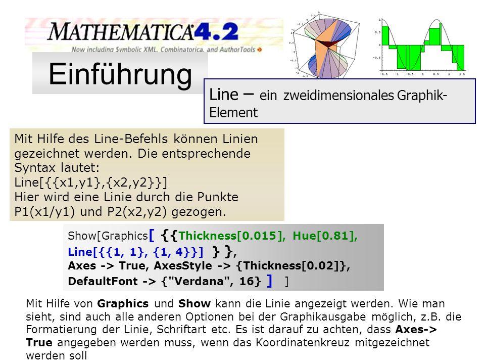 Mit Hilfe des Line-Befehls können Linien gezeichnet werden. Die entsprechende Syntax lautet: Line[{{x1,y1},{x2,y2}}] Hier wird eine Linie durch die Pu