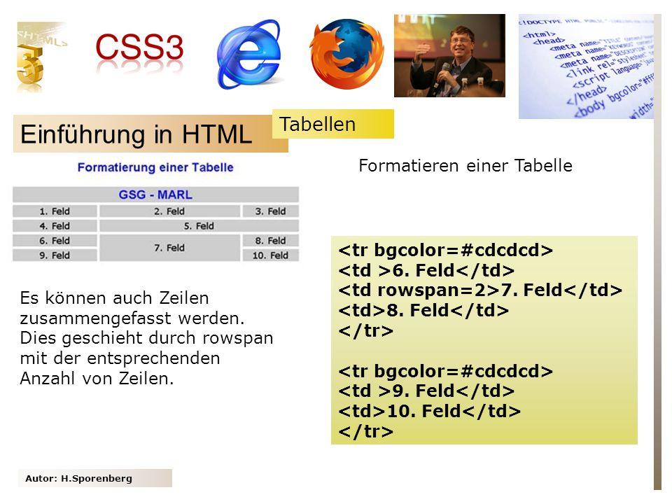 Autor: H.Sporenberg Einführung in HTML 6. Feld 7. Feld 8. Feld 9. Feld 10. Feld Es können auch Zeilen zusammengefasst werden. Dies geschieht durch row