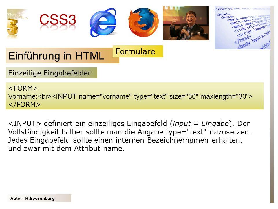 Autor: H.Sporenberg Einführung in HTML Vorname: Einzeilige Eingabefelder definiert ein einzeiliges Eingabefeld (input = Eingabe). Der Vollständigkeit