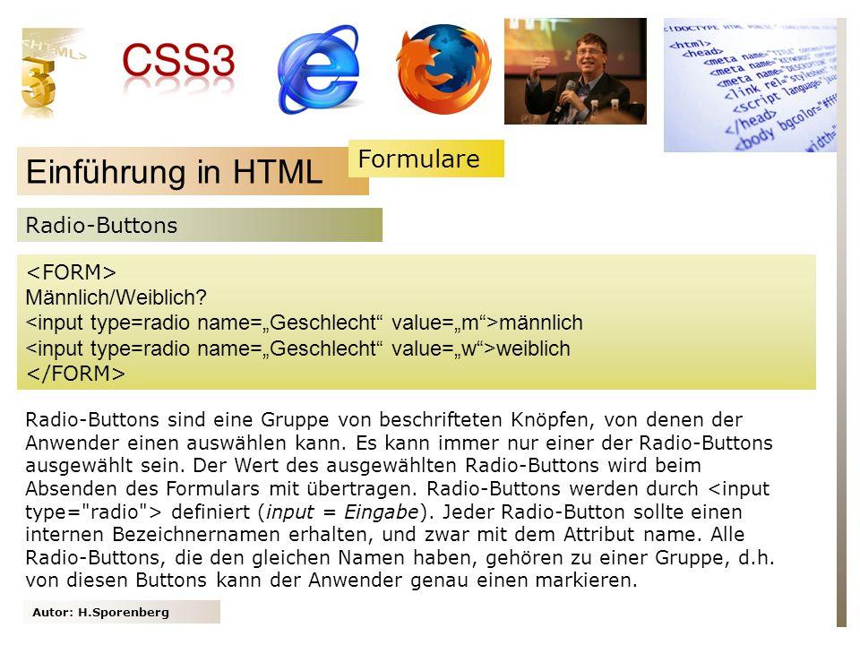 Autor: H.Sporenberg Einführung in HTML Männlich/Weiblich.