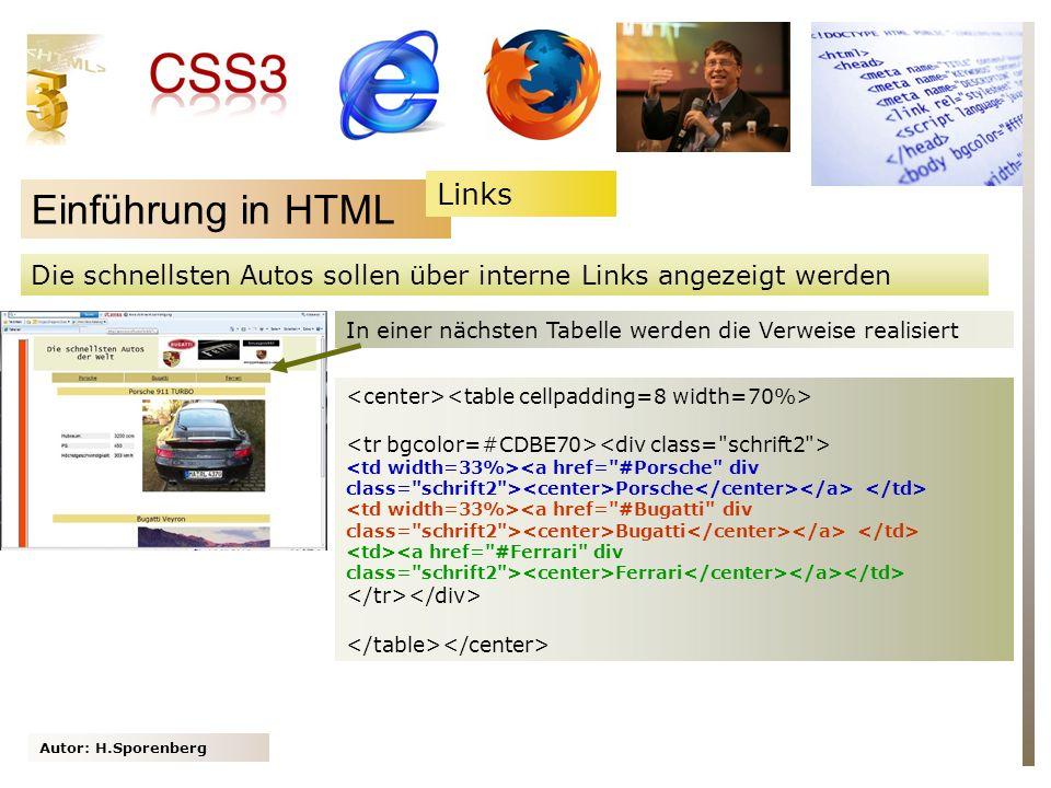 Autor: H.Sporenberg Einführung in HTML Die schnellsten Autos sollen über interne Links angezeigt werden In einer nächsten Tabelle werden die Verweise