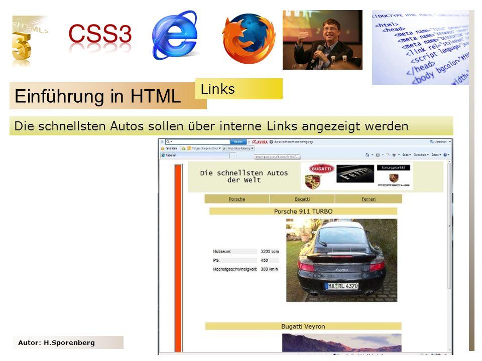 Autor: H.Sporenberg Einführung in HTML Die schnellsten Autos sollen über interne Links angezeigt werden Links