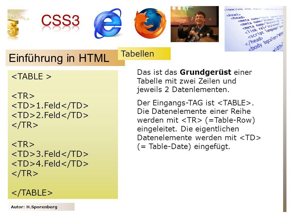 Autor: H.Sporenberg Einführung in HTML 1.Feld 2.Feld 3.Feld 4.Feld Das ist das Grundgerüst einer Tabelle mit zwei Zeilen und jeweils 2 Datenlementen.
