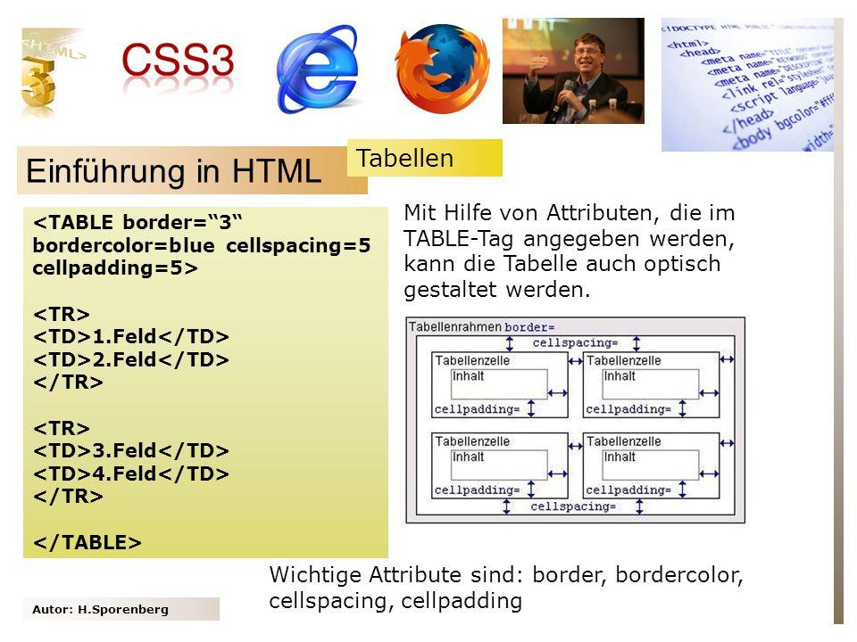 Autor: H.Sporenberg Einführung in HTML 1.Feld 2.Feld 3.Feld 4.Feld Mit Hilfe von Attributen, die im TABLE-Tag angegeben werden, kann die Tabelle auch optisch gestaltet werden.